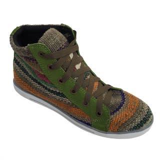 Andiz Women's Size-9 Handmade Multi-colored High-top Wool Shoes (Ecuador)|https://ak1.ostkcdn.com/images/products/10652990/P17719728.jpg?impolicy=medium