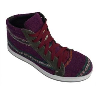 Andiz Women's Size-8 Handmade Multi-colored High-top Wool Shoes (Ecuador)