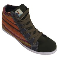 Handmade Andiz Women's Size-8 Handmade Multi-colored High-top Wool Shoes (Ecuador)