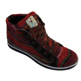 Handmade Andiz Women's Size-6 Handmade Multi-colored High-top Wool Shoes (Ecuador)