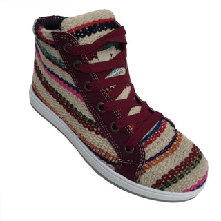 Andiz Women's Size-7 Handmade Multi-colored High-top Wool Shoes (Ecuador)