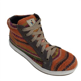 Andiz Wome's Size-8 Handmade Multi-colored High-top Wool Shoes (Ecuador)
