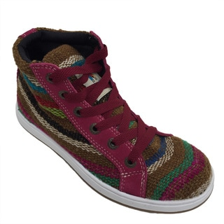 Andiz Women's Size-6 Handmade Multi-colored High-top Wool Shoes (Ecuador)
