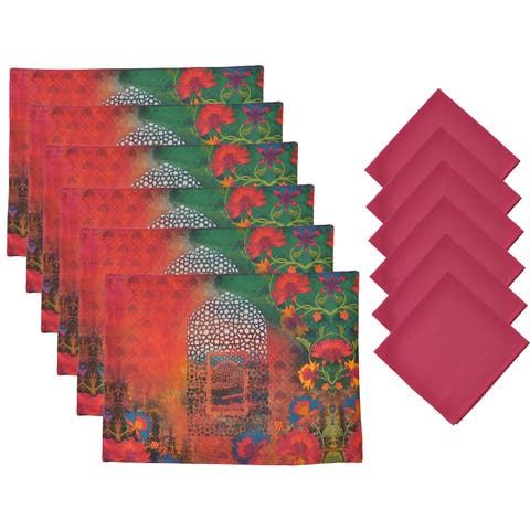 Aspire 12-piece Printed Floral Placemats and Napkins