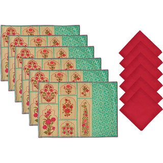 Aspire 12-piece Printed Floral Placemat and Napkin Set