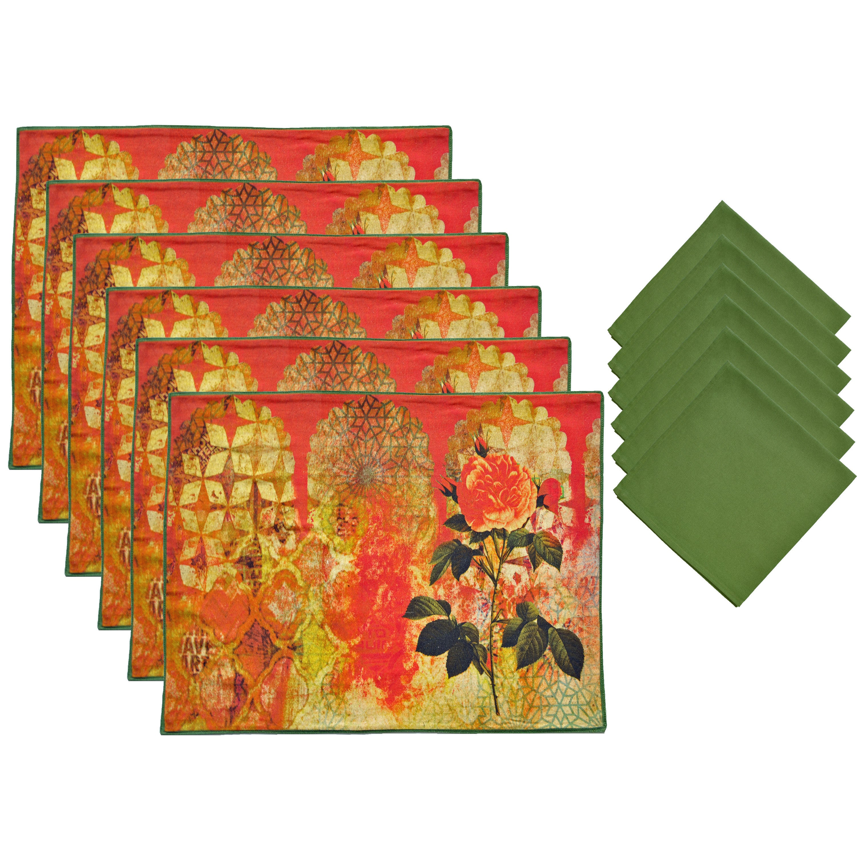ASPIRE 12-piece Olive Printed Floral Placemats and Napkin...