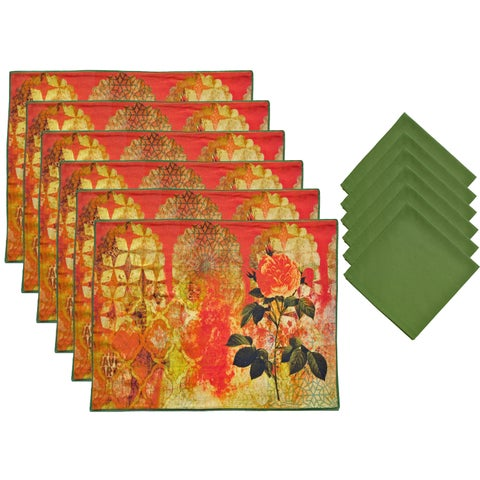 Aspire 12-piece Olive Printed Floral Placemats and Napkins