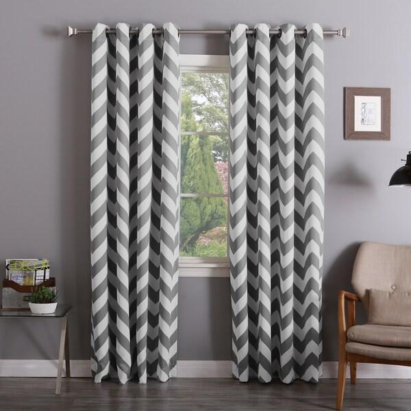Aurora Home Chevron Print Room Darkening 108 Inch Curtain Panel Pair