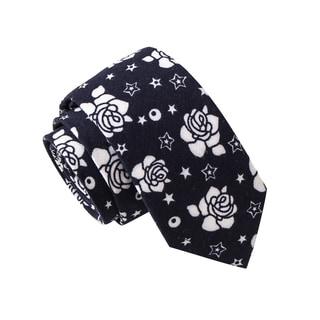 Skinny Tie Madness Men's Peronsal Trainee Navy Floral Print Skinny Tie