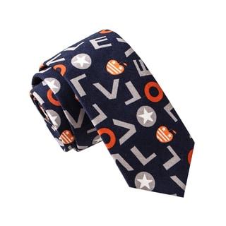 Skinny Tie Madness Men's Love Love Love Navy Novelty Print Skinny Tie