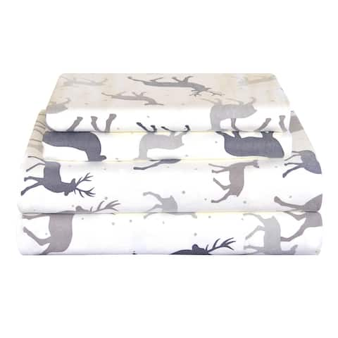 Pointehaven Heavy Weight Deep Pocket Flannel Bed Sheet Set - Autumn Deer