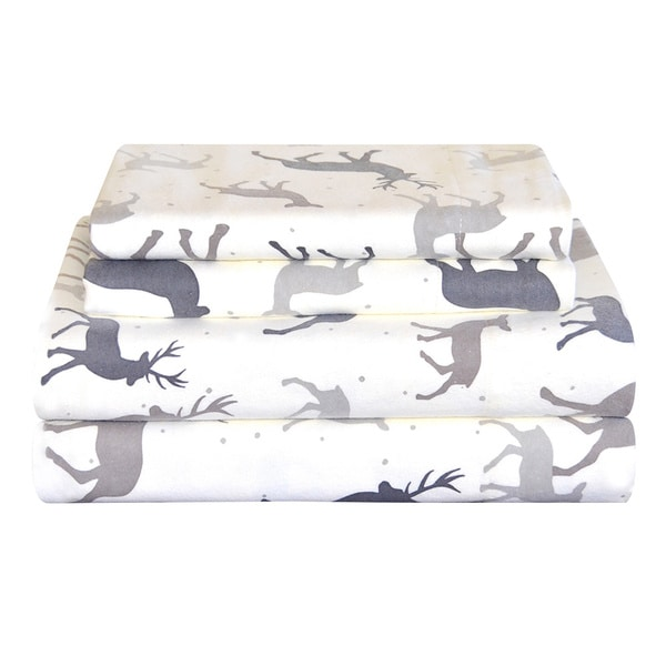 Pointehaven Heavy Weight Deep Pocket Flannel Sheet Set - Autumn Deer