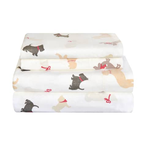 Pointehaven Heavy Weight Flannel Bed Sheet Set - Winter Dogs