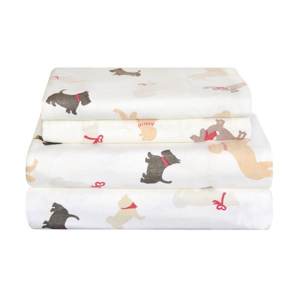 Pointehaven Heavy Weight Flannel Sheet Set - Winter Dogs