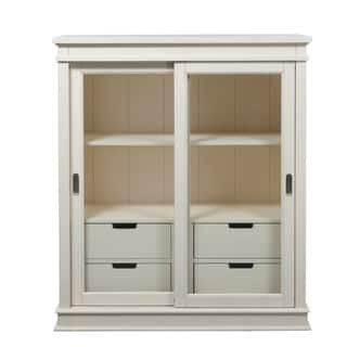 Summerhill Rubbed Linen White Display Cabinet|https://ak1.ostkcdn.com/images/products/10653081/P17719843.jpg?impolicy=medium