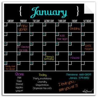 Black Fluorescent Dry Erase Monthly Calendar Decal