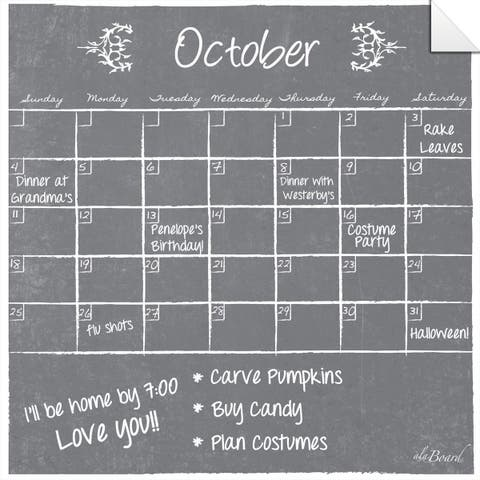 Grey Dry Erase Monthly Calendar Decal