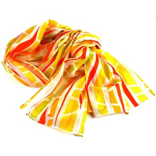 Handmade Yellow Columns Design Cotton Scarf (India)