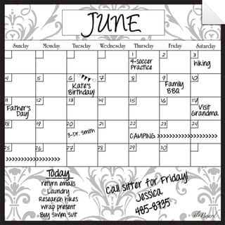 Grey Damask Dry Erase Monthly Calendar Decal