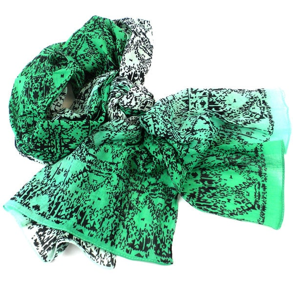Handmade Three Shades of Green Cotton Scarf (India)