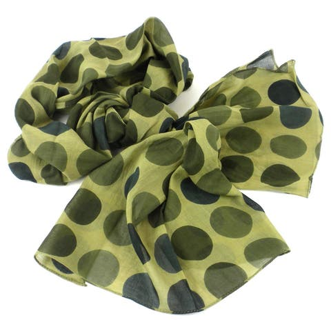 Handmade Olive Polka Dots Design Cotton Scarf (India) - L