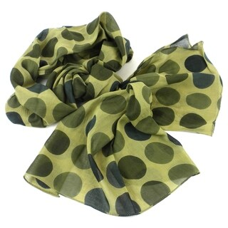 Handmade Olive Polka Dots Design Cotton Scarf (India)