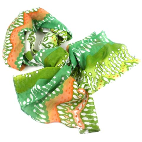 Handmade White, Peach and Green Ikat Design Cotton Scarf (India) - L