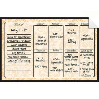 Wheat Dry Erase Weekly Calendar Decal