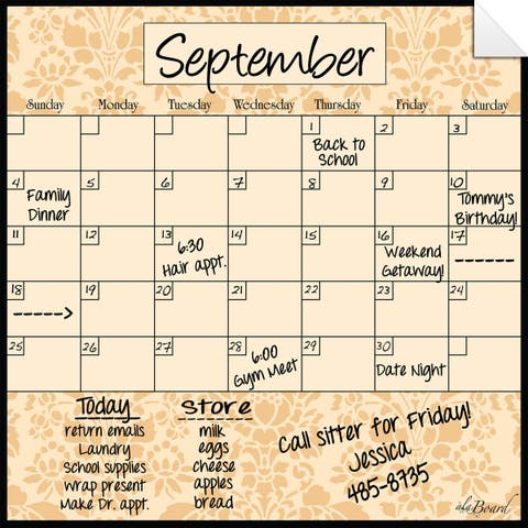 Wheat Brocade Dry Erase Monthly Calendar Decal