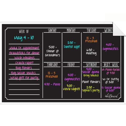 Black Fluorescent Dry Erase Weekly Calendar Decal