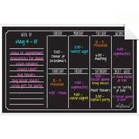 Black Fluorescent Dry Erase Weekly Calendar Decal