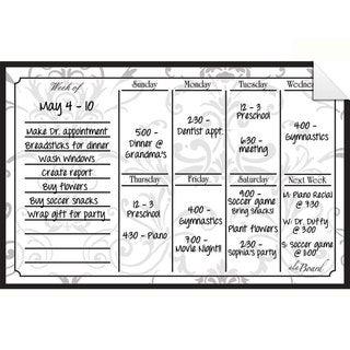 Grey Damask Dry Erase Weekly Calendar Decal