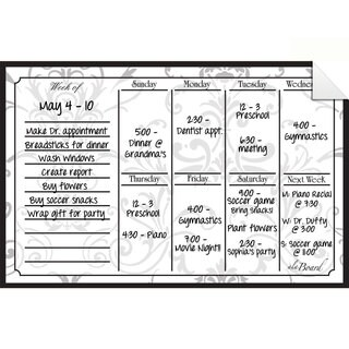 Grey Damask Dry Erase Weekly Calendar Decal