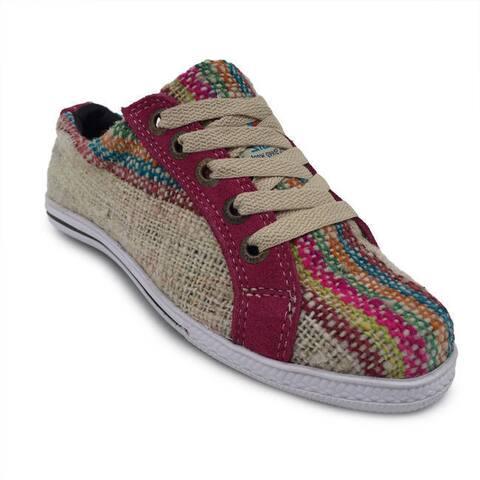 Handmade Andiz Women's Size-5 Handmade Multi-colored Oxford Made Wool Shoes (Ecuador)