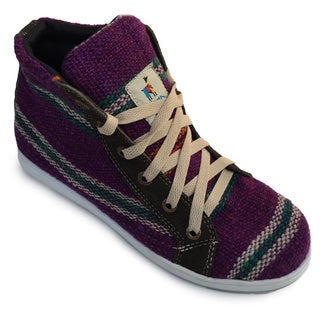 Andiz Women's Size-10 Handmade Multi-colored High-top Wool Shoes (Ecuador)