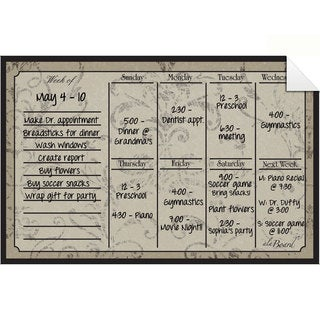 Mocha Dry Erase Weekly Calendar Decal