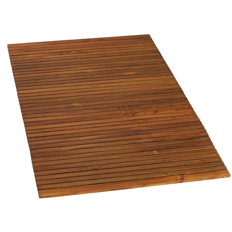 Bare Decor Oskar String Spa Shower Mat/Rug in Solid Teak Wood Oiled Finish