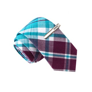 Skinny Tie Madness Men's Ace of Base Jumping Blue Plaid Skinny Tie with Tie Clip