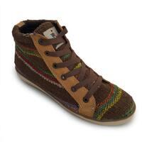 Andiz Women's Size-7 Handmade Multi-colored High-top Wool Shoes (Ecuador)