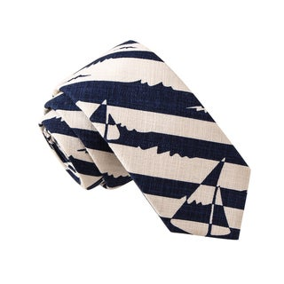 Skinny Tie Madness Men's 26 Mile Manathon Blue Boat Print Skinny Tie