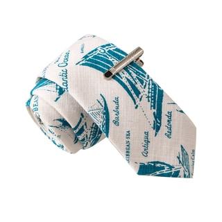 Skinny Tie Madness Men's Lackoass Salmon Boat Print Skinny Tie with Tie Clip