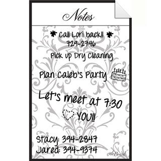 Grey Damask Dry Erase Peel and Stick Message Decal