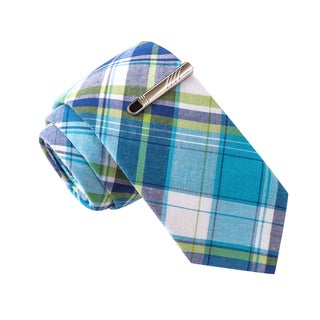 Skinny Tie Madness Men's Sexting While Driving Blue Plaid Skinny Tie with Tie Clip
