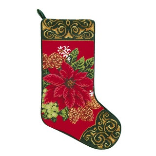 Needlepoint Stocking Poinsettia On Red