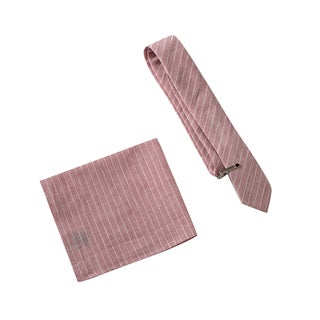 Skinny Tie Madness Men's Sour Position Pink Plaid Tie with Clip & Pocket Square