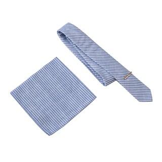 Skinny Tie Madness Men's The Prescott Blue Stripe Tie with Clip & Pocket Square
