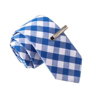 Skinny Tie Madness Men's Hatorade Blue Plaid Skinny Tie with Tie Clip