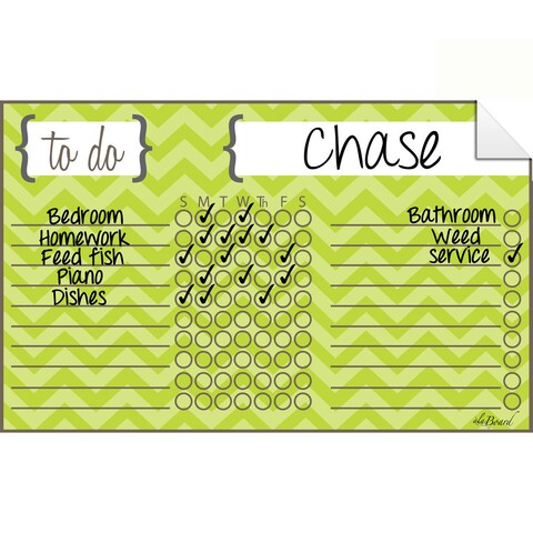 Chevron Green Dry Erase Chore Chart Decal