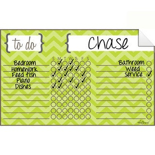 Chevron Green Dry Erase Chore Chart Decal