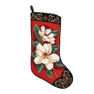 Needlepoint Stocking Magnolias On Red
